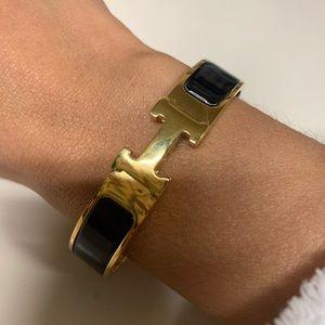 Hermès clic clac bracelet gold and black